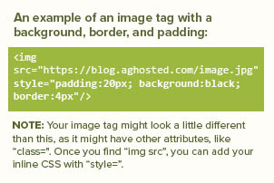 Example image tag to add a background, border and padding