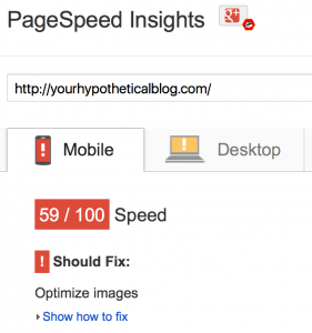 PageSpeed Insights listing showing a recommendation to Optimize Images