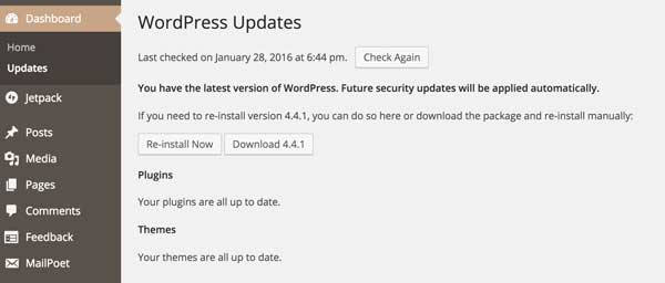 WordPress-updates-page