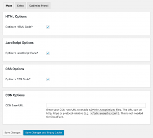 Screenshot showing Autoptimize's default settings.