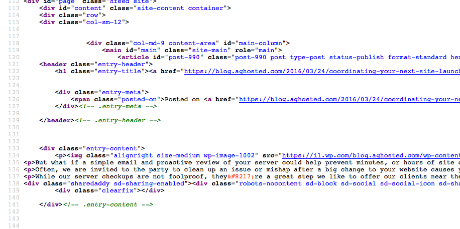Screenshot showing unoptimized HTML code from a blog post.