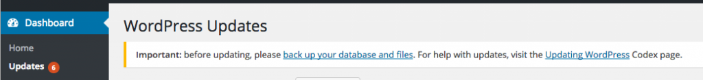 WordPress warning to perform backups before upgrading