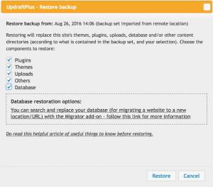 UpdraftPlus Restore Options for Migrating WordPress Sites