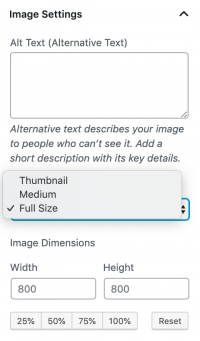 Selecting your image size in WordPress