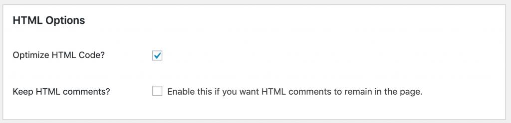 Screenshot showing Autoptomize HTML options