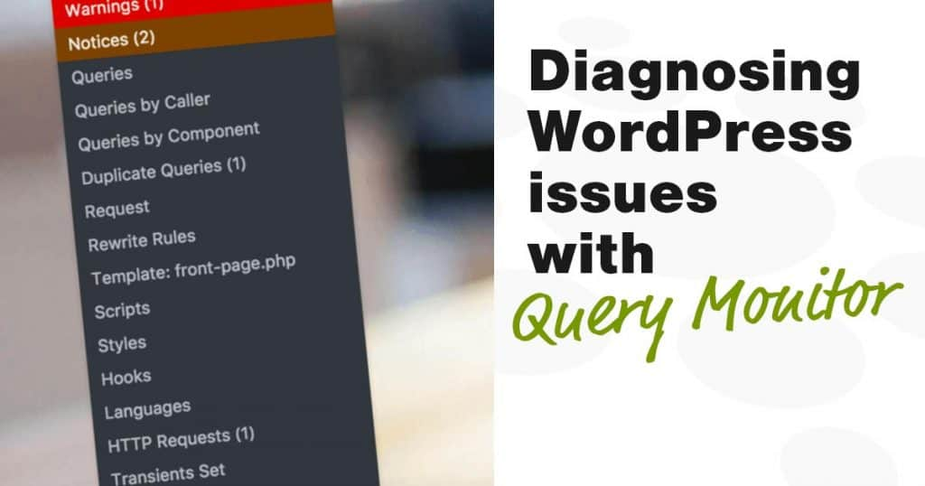 Query Monitor plugin for diagnosing WordPress issues