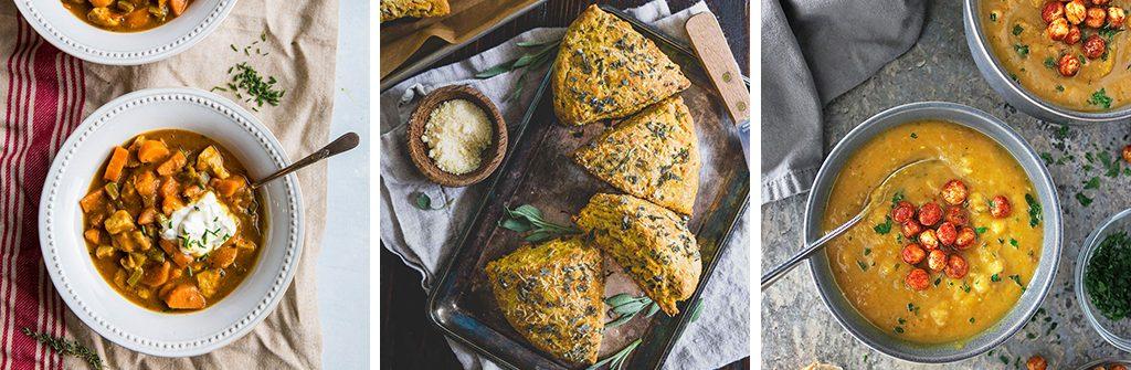 Photo grid with the Pumpkin Chicken Chili, Parmesan Pumpkin Scones, and Roasted Garlic Pumpkin Soup