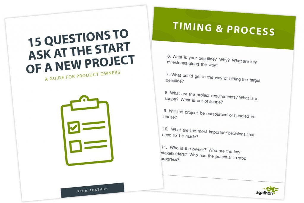 Screenshots of the free 15 Questions to Ask at the Start of a New Project PDF guide