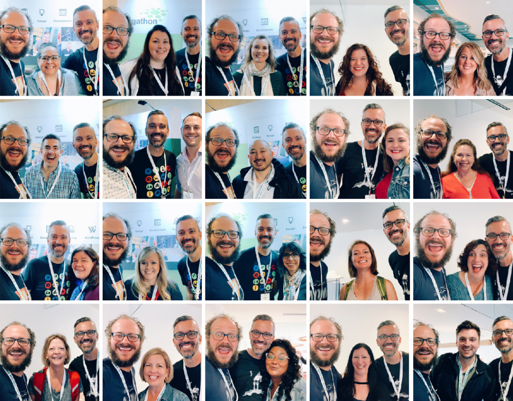A grid of Morgan & Peter posing with various Agathon clients at the Mediavine conference
