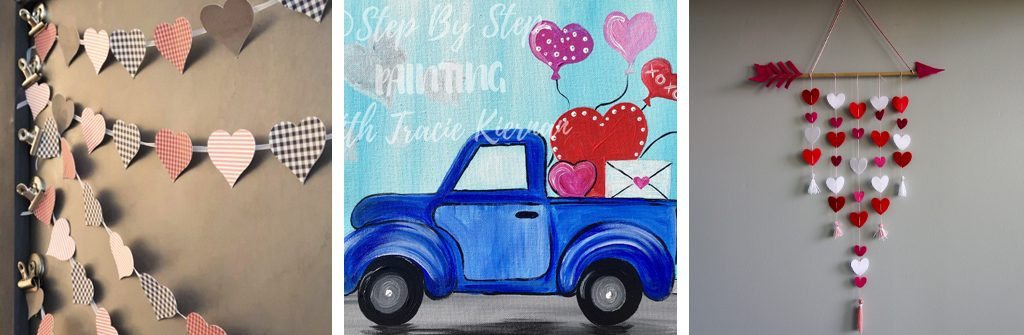 Valentine's Day Cricut heart banner, love truck painting, and cupid's arrow wall hanging