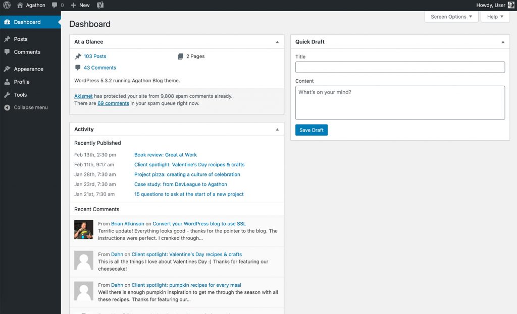 Screenshot of the WordPress dashboard for a user at the contributor level