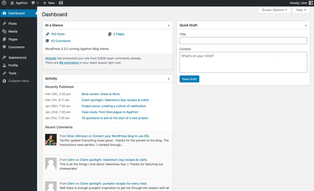 Screenshot of the WordPress dashboard for a user at the editor level