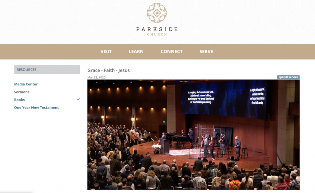 Screenshot of the Parkside Church website livestreaming a service from their archives
