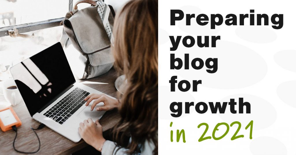 """shareable image with a woman sitting at a coffee shop counter working on her laptop and the words """"preparing your blog for growth in 2021"""""""