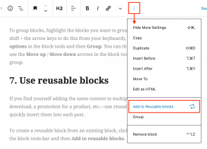 Screenshot showing how to add blocks to the Reusable Blocks tool in the Gutenberg editor