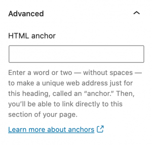 Screenshot showing the HTML anchor option under the Advanced options in Gutenberg