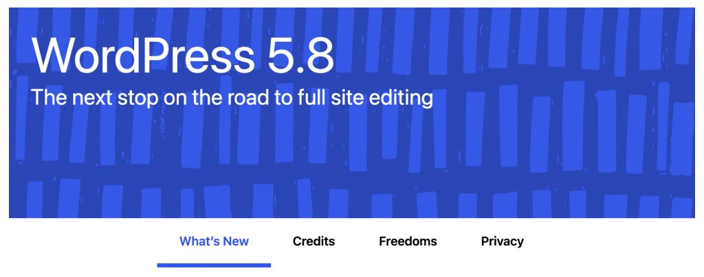 WordPress 5.8 header from the WordPress update page